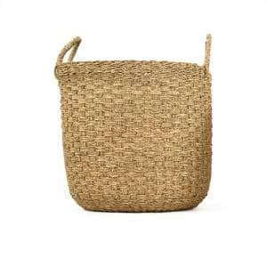Hand Woven Cylindrical Wicker Seagrass Large Basket with Handles