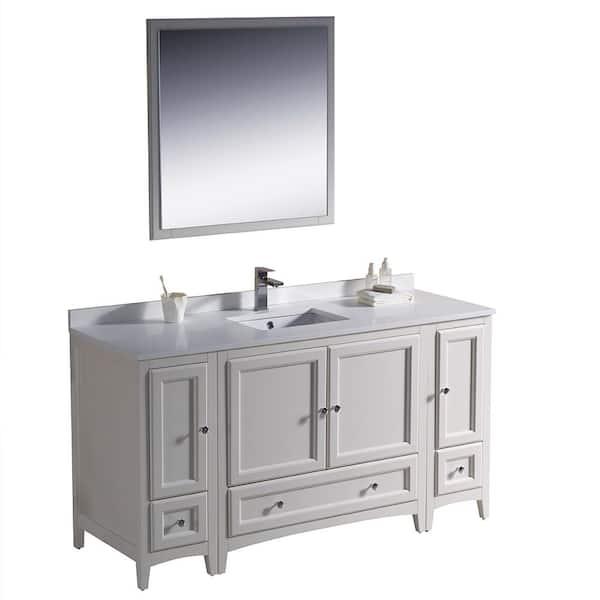 Fresca Warwick 60 In Bathroom Vanity, Antique White Bathroom Vanity Home Depot