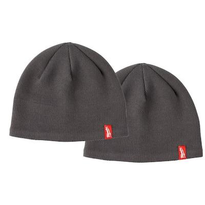 Men's Gray Fleece Lined Knit Hat (2-Pack)