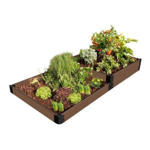 1 in. Series 4 ft. x 8 ft. x 11 in. Weathered Wood Terraced Raised Garden Bed