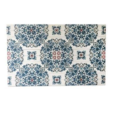Azulejo Pattern Planked Wood Pattern Abstract Art Print 30 in. x 48 in.