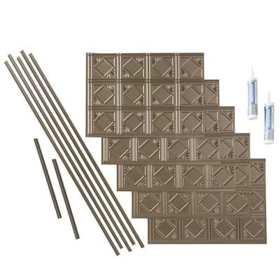 Traditional 4 18 in. x 24 in. Argent Bronze Vinyl Decorative Wall Tile Backsplash 15 sq. ft. Kit