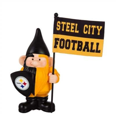 10 in. x 6 in. Pittsburgh Steelers NFL Garden Gnome with Team Flag