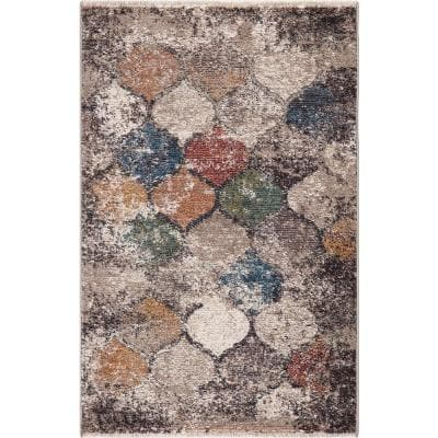 SALE Second Nature Online Rustic Black Multi Colour Leather Woven Rug 4 Sizes