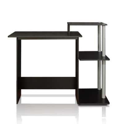 40 in. Rectangular Gray Computer Desk with Shelves