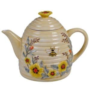 Bee Sweet Beehive 3D 32 oz. 3-Cup Multicolored Teapot
