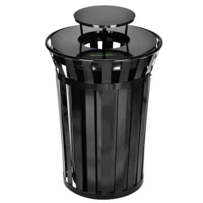 38 Gal. Black Metal Slatted Outdoor Commercial Trash Can Receptacle with Rain Bonnet Lid and Liner