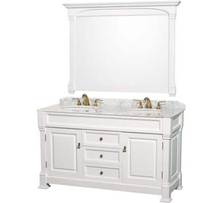Andover 60 in. Double Vanity in White with Marble Vanity Top in Carrara White with Under-Mount Sink