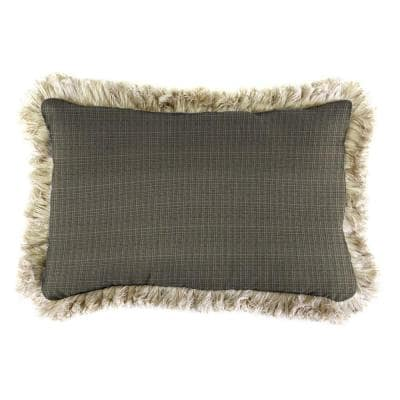 Sunbrella 9 in. x 22 in. Surge Charcoal Lumbar Outdoor Pillow with Canvas Fringe