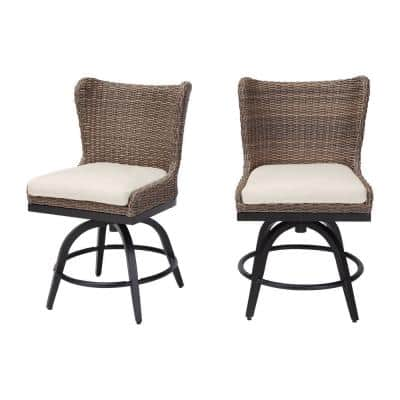 Hazelhurst Brown Wicker Outdoor Patio Swivel High Dining Chairs with CushionGuard Almond Tan Cushions (2-Pack)
