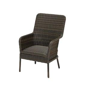 Jasper Ridge Brown Galvanized Steel Padded Wicker Captain Outdoor Patio Dining Chair (2-Pack)