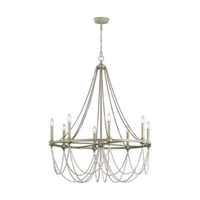 Beverly 8-Light French Washed Oak and Distressed White Wood Beaded Wagon Wheel Farmhouse Candlestick Chandelier
