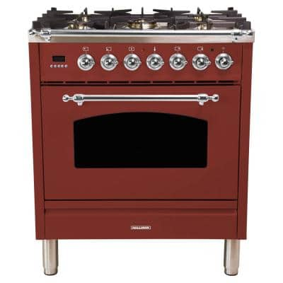 30 in. 3.0 cu. ft. Single Oven Italian Gas Range with True Convection, 5 Burners, LP Gas, Chrome Trim in Burgundy