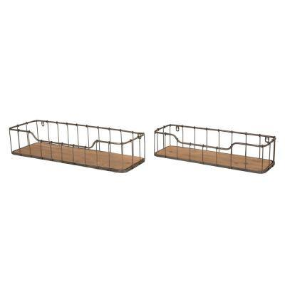 Rustic Farmhouse Metal Wooden Decorative Wall Shelves with baskets (Set of 2)