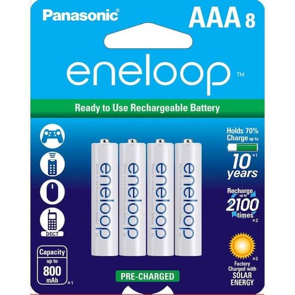 Panasonic Eneloop Ni Mh Aaa Rechargeable Batteries 8 Pack Pbk4mcca8ba The Home Depot