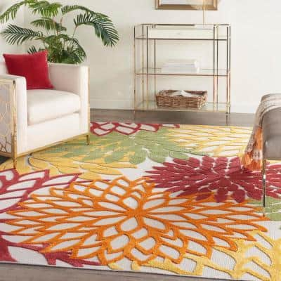 Aloha Red Multicolor 7 ft. x 10 ft. Floral Modern Indoor/Outdoor Area Rug