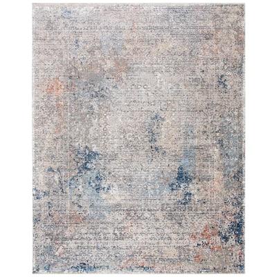 Dream Gray/Blue 9 ft. x 12 ft. Medallion Area Rug