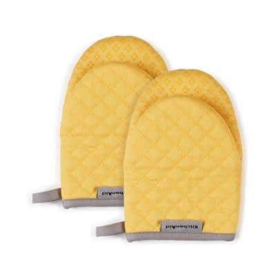Asteroid Silicone Grip Yellow Mini Oven Mitt (2-Pack)