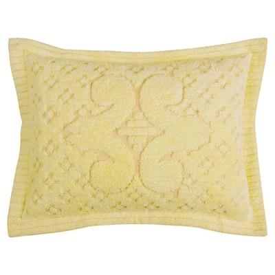 Ashton Collection in Medallion Design Yellow Standard 100% Cotton Tufted Chenille Sham