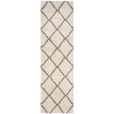 Hudson Shag Ivory/Grey 2 ft. x 8 ft. Geometric Runner Rug