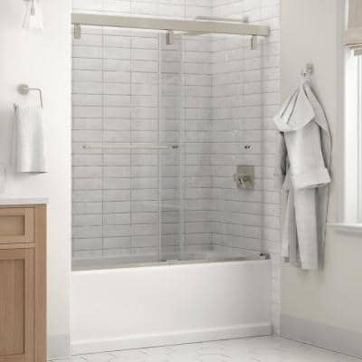 Simplicity 60 x 59-1/4 in. Frameless Mod Soft-Close Sliding Bathtub Door in Nickel with 1/4 in. (6mm) Clear Glass