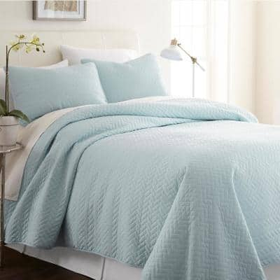 Herring Pale Blue Microfiber Queen Performance Quilted Coverlet Set