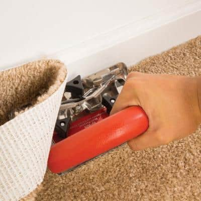 Sheet Goods and Carpet Trimmer with Anti-Friction Boot, Adjustable Handle and 2 Hook Blades