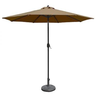 Mirage 9 ft. Octagonal Market Auto-Tilt Patio Umbrella in Stone Sunbrella Acrylic