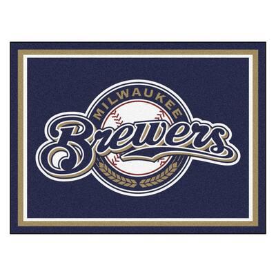 MLB Milwaukee Brewers Navy Blue 8 ft. x 10 ft. Indoor Area Rug