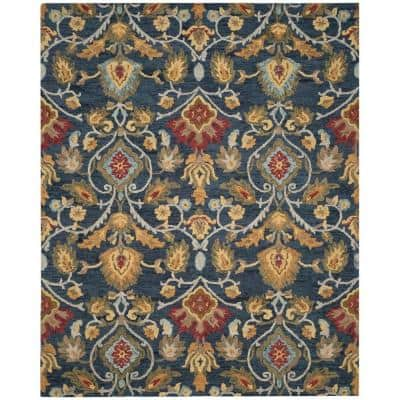 Blossom Navy/Multi 8 ft. x 10 ft. Floral Area Rug