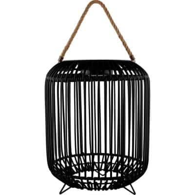 Tulum 15 in. Black LED Solar Outdoor Floor Lamp