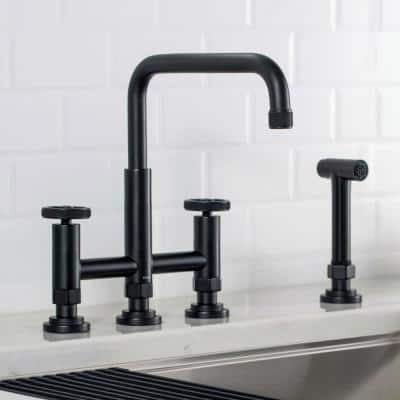 Urbix Transitional 2-Handle Bridge Kitchen Faucet with Side Sprayer in Matte Black