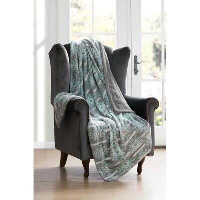 Bexley Multicolored Grey-Aqua Throw Blanket