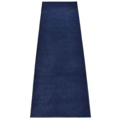 Euro Solid Navy Blue 26 in. Width x Your Choice Length Custom Size Runner Rug