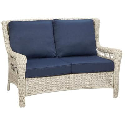 Park Meadows Off-White Wicker Outdoor Loveseat with Midnight Cushion