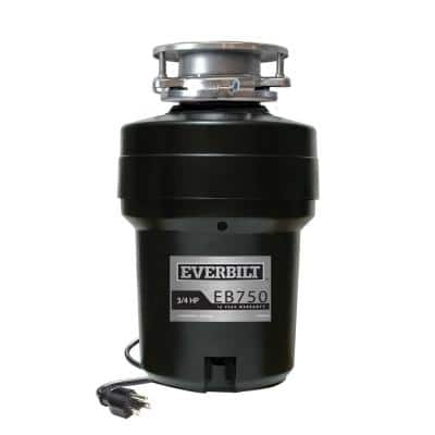 3/4 HP Continuous Feed Garbage Disposal with Stainless Steel Sink Flange and Attached Power Cord