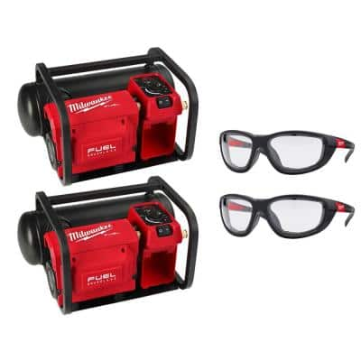 M18 FUEL 18-Volt Lithium-Ion Brushless 2 Gal. Compact Quiet Compressor (2-Tool) and Performance Safety Glasses (2-Pack)