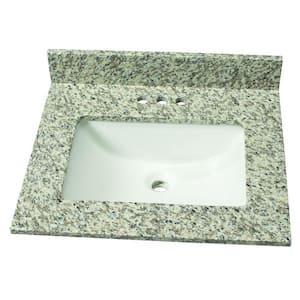 25 in. W Granite Single Sink Vanity Top in Blanco Perla with White Sink