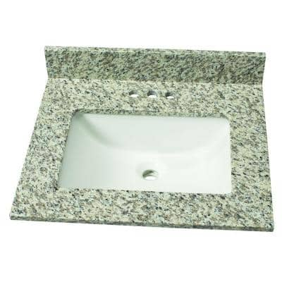 25 in. W Granite Single Sink Vanity Top in Blanco Perla with White Sink