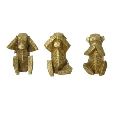 Wise Monkey Tabletop Sculptures (Set of 3)