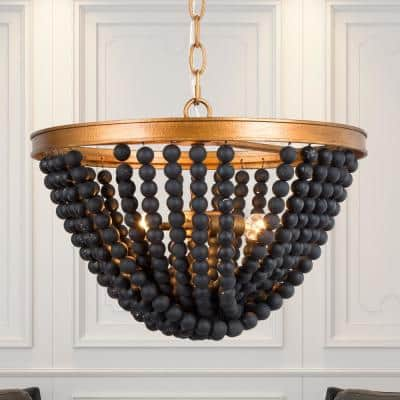 Anmie Farmhouse Gold Black Chandelier Rustic Boho Dining Room Foyer Candlestick Chandelier with Wood Beads