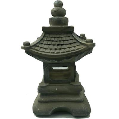Solar 13 in. Japanese Pagoda in Tan