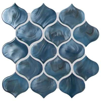 Msi Blue Shimmer Arabesque 10 In X 10 20 In X 8mm Glass Mesh Mounted Mosaic Tile 0 71 Sq Ft Gls Blushi8mm The Home Depot