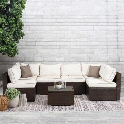 Brown 7-Piece Wicker Sectional Seating Set with Beige Cushions Dack