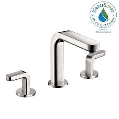 Metris S Deck Mount Double Handle Low Arc 8 in. Widespread Bathroom Faucet in Chrome