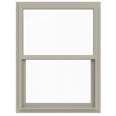 36 in. x 48 in. V-4500 Series Desert Sand Single-Hung Vinyl Window with Fiberglass Mesh Screen