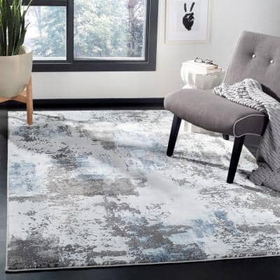 Craft Gray/Blue 9 ft. x 12 ft. Gradient Abstract Area Rug