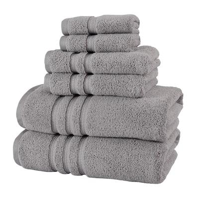 Micro Cotton 6-Piece Bath Towel Set in Stone Gray