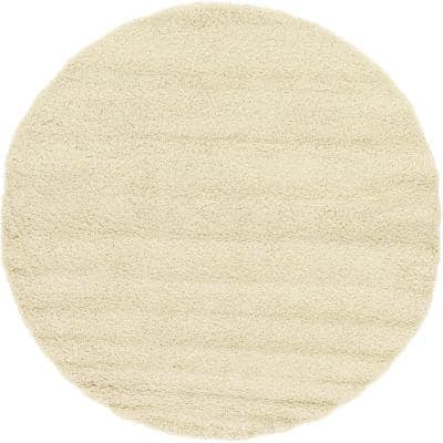 Solid Shag Pure Ivory 8 ft. Round Area Rug