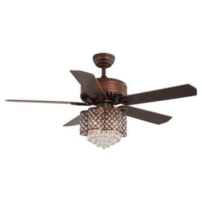 52 in. Indoor LED Brown 5 Plywood Metal Ceiling Fan with AC Motor and Crystal Light